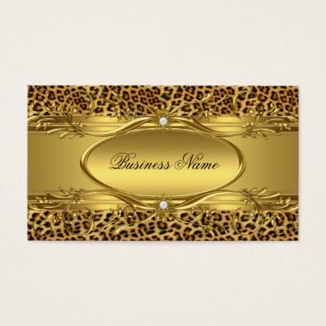 Professional Business Elegant Gold Leopard print Business Card