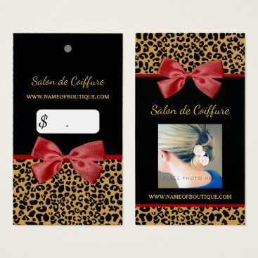 Professional Business Elegant Gold Leopard Print Red Bow Photo Pricetag Business Card