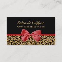 Elegant Gold Leopard Print With Red Bow Hair Salon Business Card