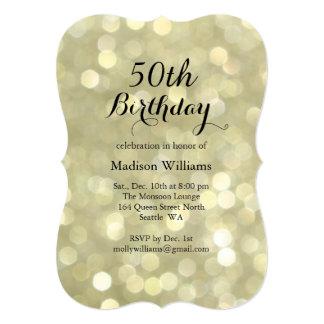 Elegant Gold Lights 50th Birthday Invitation