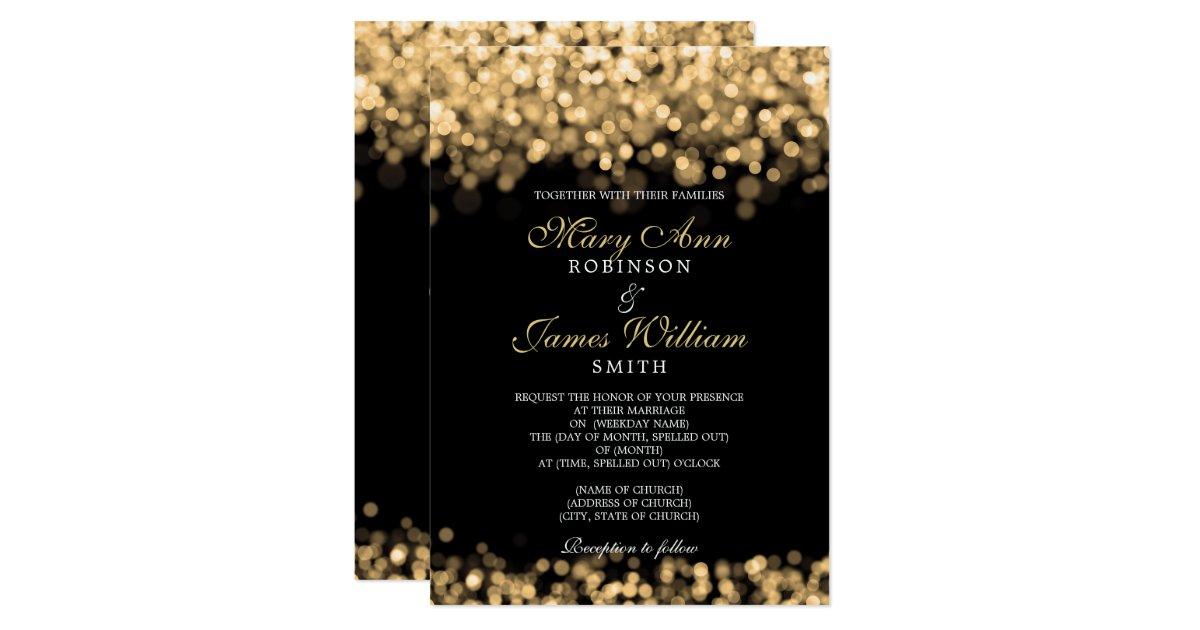 Elegant Gold Lights Wedding Invitation   Zazzle.com