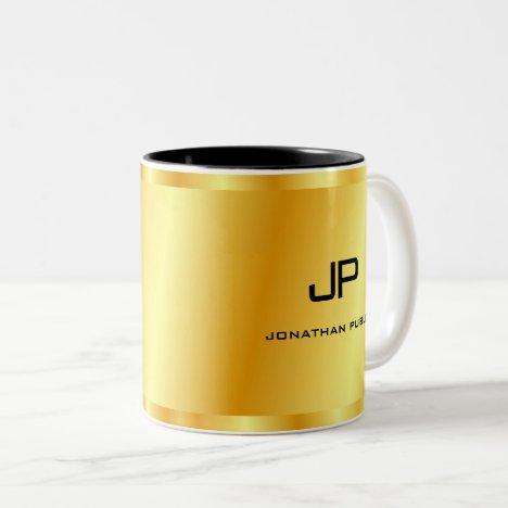 Elegant Gold Look Monogram Template Golden Two-Tone Coffee Mug