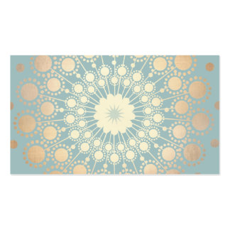 Elegant Gold Look Ornate Circle Motif Light Blue Double-Sided Standard Business Cards (Pack Of 100)