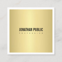 Elegant Gold Look Plain Modern Minimalist Square Business Card