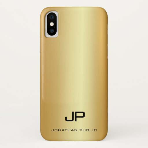 Elegant Gold Look Template Modern Monogram Name iPhone X Case