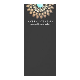 Elegant Gold Lotus Floral Motif Stylish Black Rack Card Design