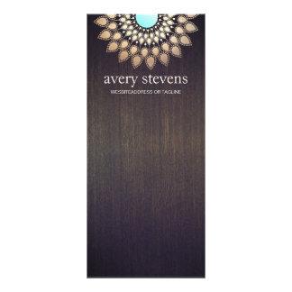 Elegant Gold Lotus Floral Motif Stylish Wood Rack Card
