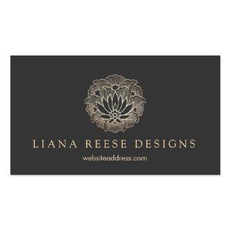 Elegant Gold Lotus Flower Designer Black Business Cards
