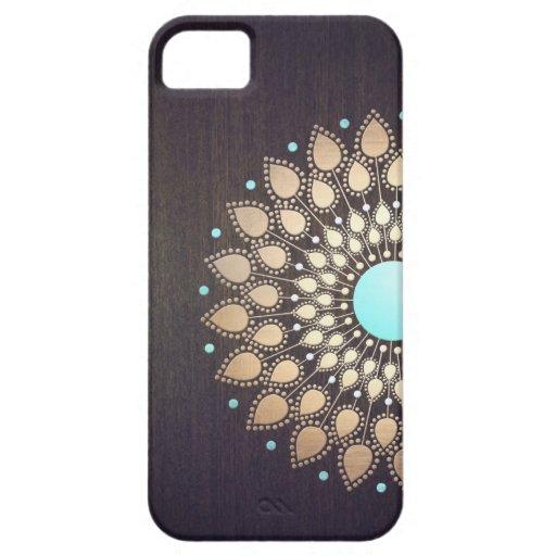 Elegant Gold Lotus Flower Wood Stylish Floral iPhone 5 Case