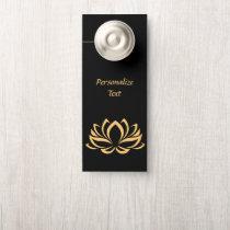 Elegant Gold Lotus Flower Zen Yoga Personalized Door Hanger