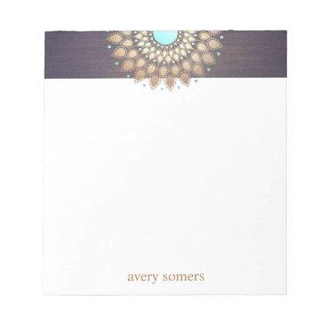 sm_business_cards Elegant Gold Lotus Mandala Yoga Teacher Notepad
