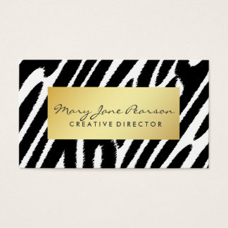Elegant Gold Luxe Black White Zebra Pattern Business Card