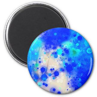 Elegant Gold Luxe Blue Floral Watercolor Magnet