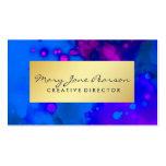 Elegant Gold Luxe Blue Purple Watercolor Business Card