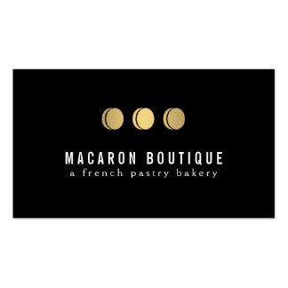 Elegant Gold Macaron Trio Logo on Black Double-Sided Standard Business Cards (Pack Of 100)