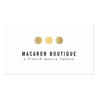 Elegant Gold Macaron Trio Logo on White Double-Sided Standard Business Cards (Pack Of 100)