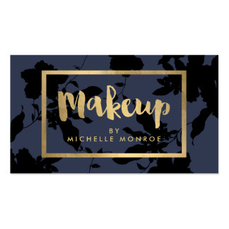Elegant Gold Makeup Text on Midnight Blue Floral Business Card