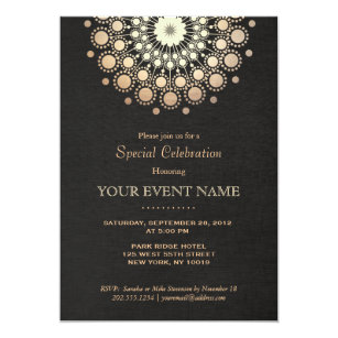 Corporate anniversary invitations announcements zazzle elegant gold mandala black formal invitation stopboris