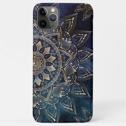 Elegant Gold Mandala Blue Galaxy Design iPhone 11 Pro Max Case