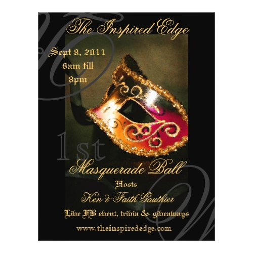 Elegant Gold Masquerade Ball Party Event Flyer flyer
