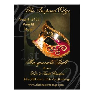 Elegant Gold Masquerade Ball Party Event Flyer