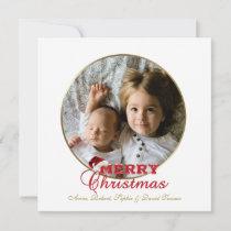 Elegant gold Merry Christmas Script Photo Monogram Holiday Card