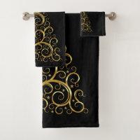 Elegant Gold Metal Christmas Tree Towel Set