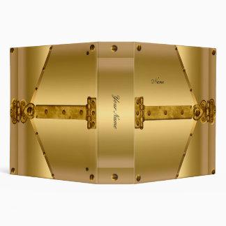 Elegant Gold Metal Lock Hinge 3 Ring Binder
