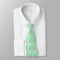 Elegant Gold Mint Christmas Reindeer Pattern Neck Tie
