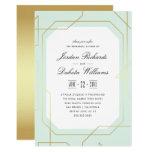 Elegant Gold & Mint Geometric Rehearsal Dinner Card