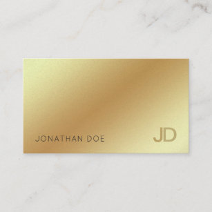 Elegant Gold Modern Monogram Luxury Pearl Finish Business Card