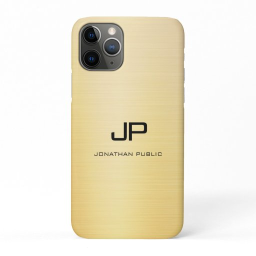Elegant Gold Modern Monogrammed Name Template iPhone 11 Pro Case