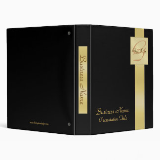 Elegant Gold Monogram Black Business Office Binder