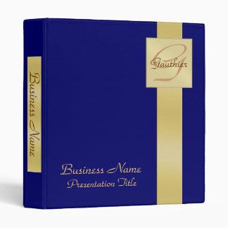 Elegant Gold Monogram Blue Business Binder
