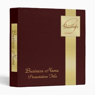 Elegant Gold Monogram Brown Business Office Binder