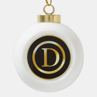Elegant Gold Monogram D Christmas Ceramic Ball Christmas Ornament