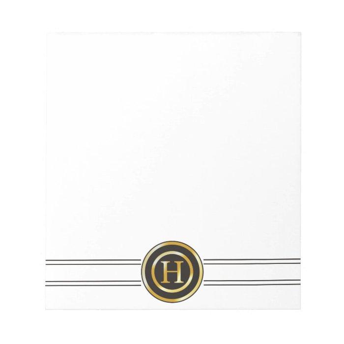 Elegant Gold Monogram H Memo Notepads