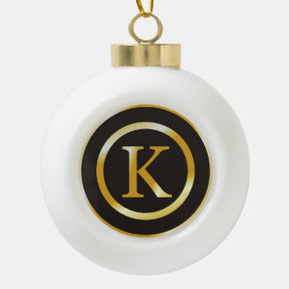 Elegant Gold Monogram K Christmas Ceramic Ball Christmas Ornament