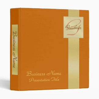 Elegant Gold Monogram Orange Business Binder