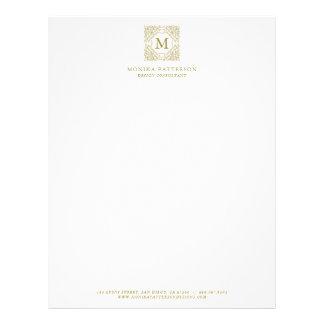 Elegant Gold Monogram Ornamental Frame Letterhead