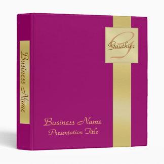 Elegant Gold Monogram Pink Business Office Binder
