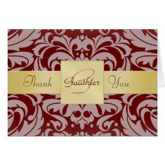 Elegant Gold Monogram Red Damask Thank You Card