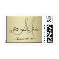 Elegant Gold Monogram Save the Date Postage