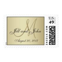 Elegant Gold Monogram Save the Date Postage