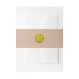 Elegant Gold Monogram Wax Seal Beige Wedding Invitation Belly Band