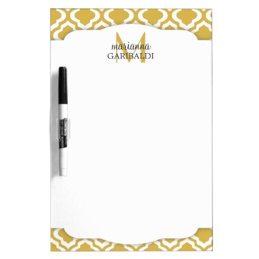Elegant Gold Moroccan Quatrefoil Personalized Dry-Erase Whiteboard