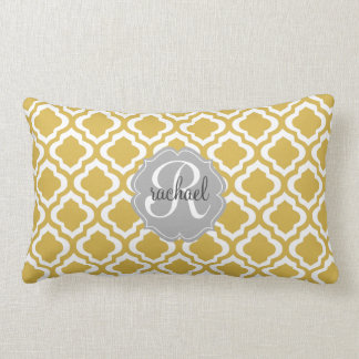 Elegant Gold Moroccan Quatrefoil Personalized Throw Pillow