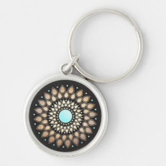 Elegant Gold Motif and Faux Black Linen Modern Silver-Colored Round Keychain