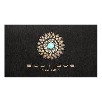 Elegant Gold Motif Chic Faux Black Linen Modern Business Card