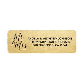 Elegant Gold Mr. & Mrs. Wedding Return Address Label